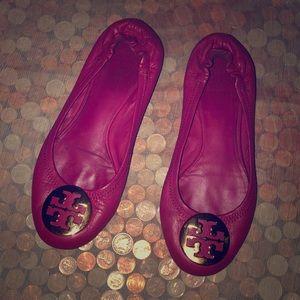 Tory Burch Reva Pink Leather Ballet Flats 7